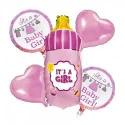 globos bouquet biberon rosa