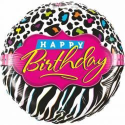 Globo cebra Happy Birthday